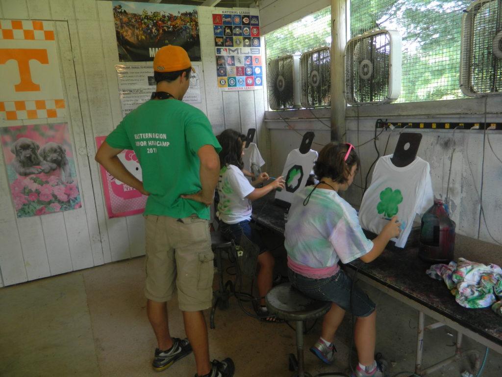 4-H'ers Airbrushing t-Shirts at Camp