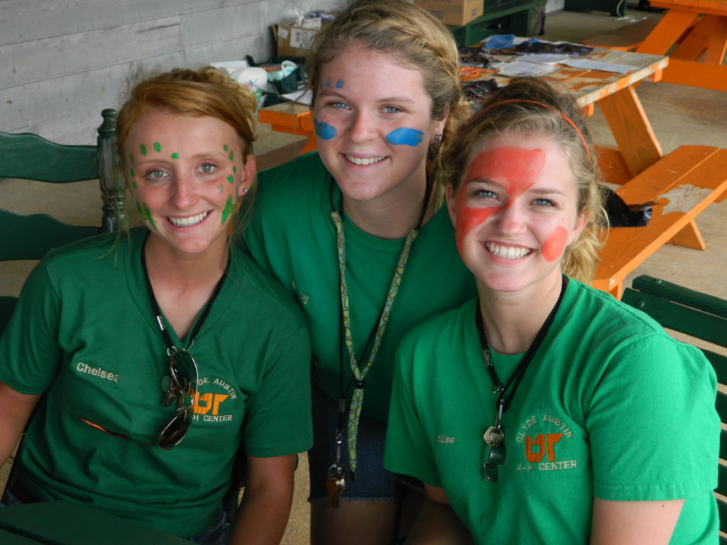 4-H'ers Face Painting at Camp