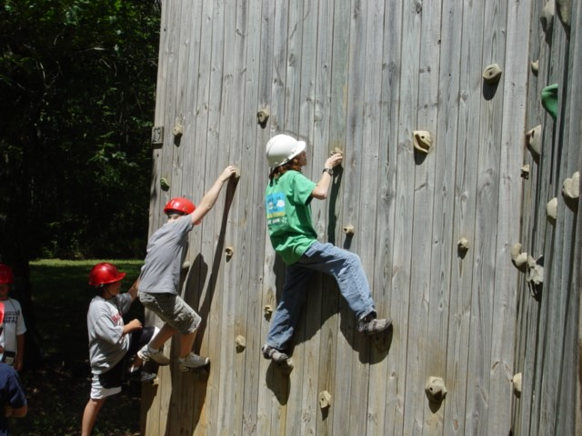Junior 4-H Camp Learning Wall Climbing